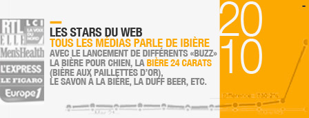 - 2010 Les Stars du Web : Tous les médias parle de IBIère avec le lancement de différents «buzz» la bière pour chien, la bière 24 carats (bière aux pailliettes d'or), le savon à la bière, la duff beer, la directrice marketing se mets à poil, etc.