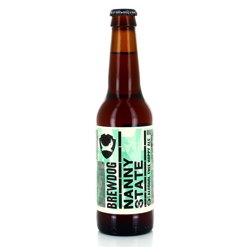 Bouteille de bière Brewdog Nanny State 33cl. Remplie de houblons Centennial, Amarillo, Columbus, Cascade et Simcoe, la Nanny State est remplie