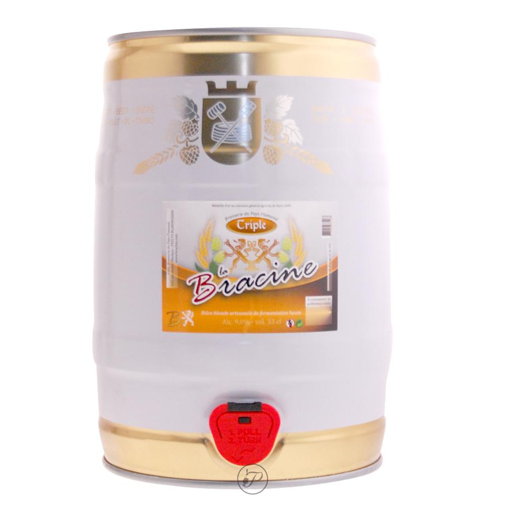 Fut bière BRACINE Triple 5L. TRIPLE FERMENTATIONDécouvrez cette bière triple fermentation en fut de 5 litres. Une bière de