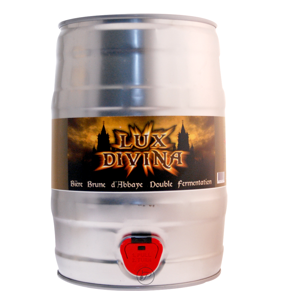Fut bière LUX DIVINA Brune 5L. La Lux Divina, une bière d'abbaye brune française brassée comme une 'double' fermentation.
