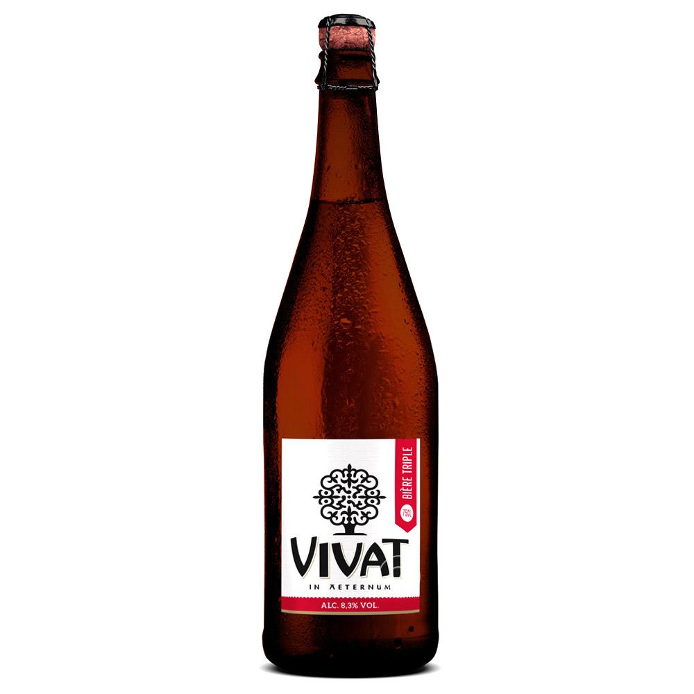 Bière Vivat Triple - 75cl. La Vivat Triple brassée au sein de l?Abbaye du Cateau de façon traditionnelle, soit avec un écu