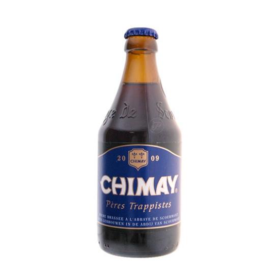 Bouteille Chimay Bleue 33cl. Bière trappiste de l?Abbaye de Scourmont en Belgique, la Chimay Bleue est une bière brune avec des reflets