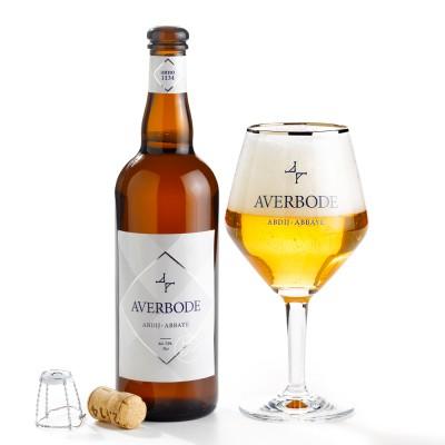 Bouteille Averbode et son verre, bière d'abbaye