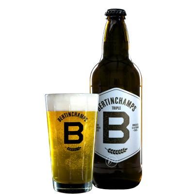 Bouteille de bière et le verre Bertinchamps triple 8° - 50cl
