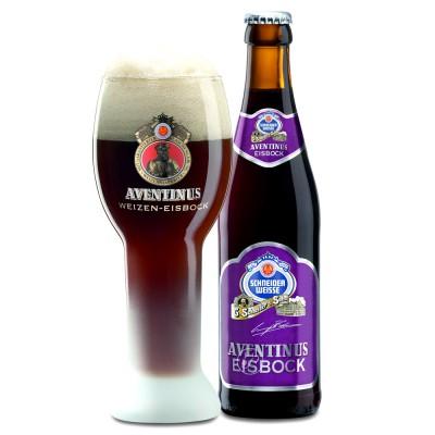 Bouteille de bière SCHNEIDER EISBOCK et son verre à bière