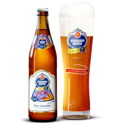 Bouteille de bière et Verre à bière Schneider Alkoholfrei TAP 3 - 50cl