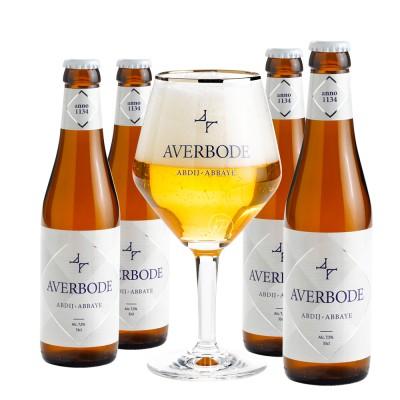 Coffret Averbode Ouvert, bière d'abbaye de 7.5° et 1 Verres