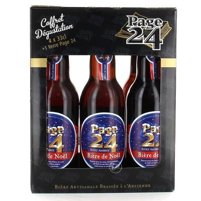 Coffret de bière Page 24 Noël 4 bouteilles 33cl + 1 verre