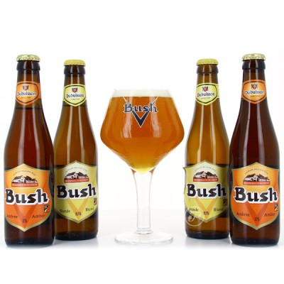 Coffret de bières Bush 4 X 33cl + 1 verre (Coffret de bière)