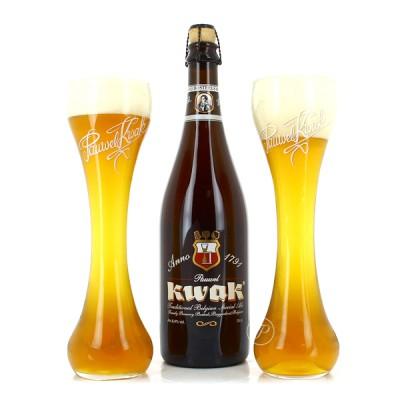 Coffret 1 bouteille de bière Kwak 75cl et 2 verres (Coffret de bière)