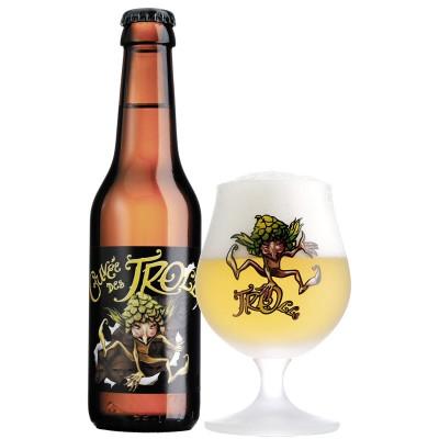 bouteille de biere cuvee des trolls et son verre de bière blonde