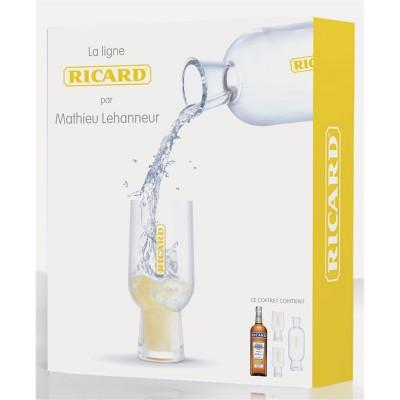 Coffret Ricard par Mathieu Lehanneur  : 1 carafe à pied, 2 verres Ricard et 1 bouteille de Ricard 70cl