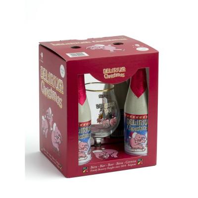 Coffret de bière Délirium Noël 4 bouteilles + 1 verre