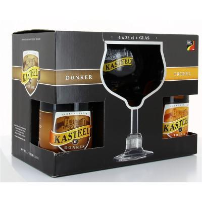 Coffret Kasteel - 2 Kasteel Triple, 2 Kasteel Donker + 1 verre