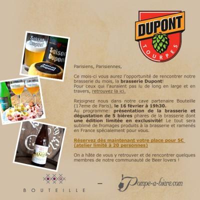 Entrée pour la soirée Dégustation de la Brasserie Dupont
