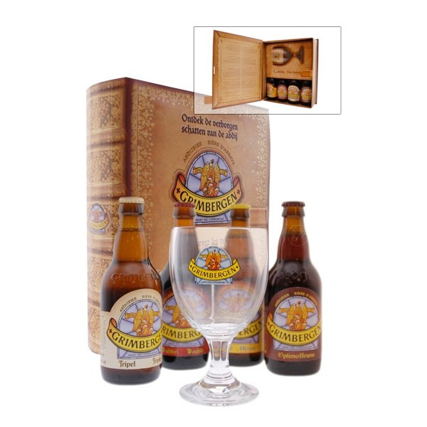coffret de 4 bouteilles de biere grimbergen et 1 verre. Black Bedroom Furniture Sets. Home Design Ideas