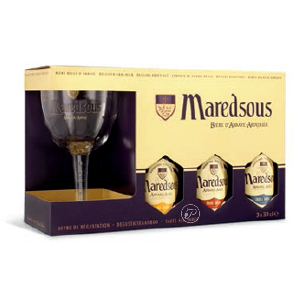coffret de bi re maredsous 3 x 33cl 1 verre. Black Bedroom Furniture Sets. Home Design Ideas