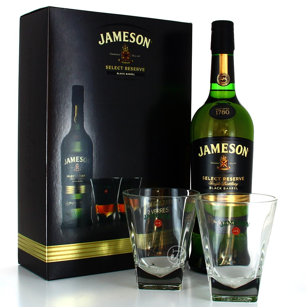 coffret jameson whiskey et 2 verres 40 70cl. Black Bedroom Furniture Sets. Home Design Ideas