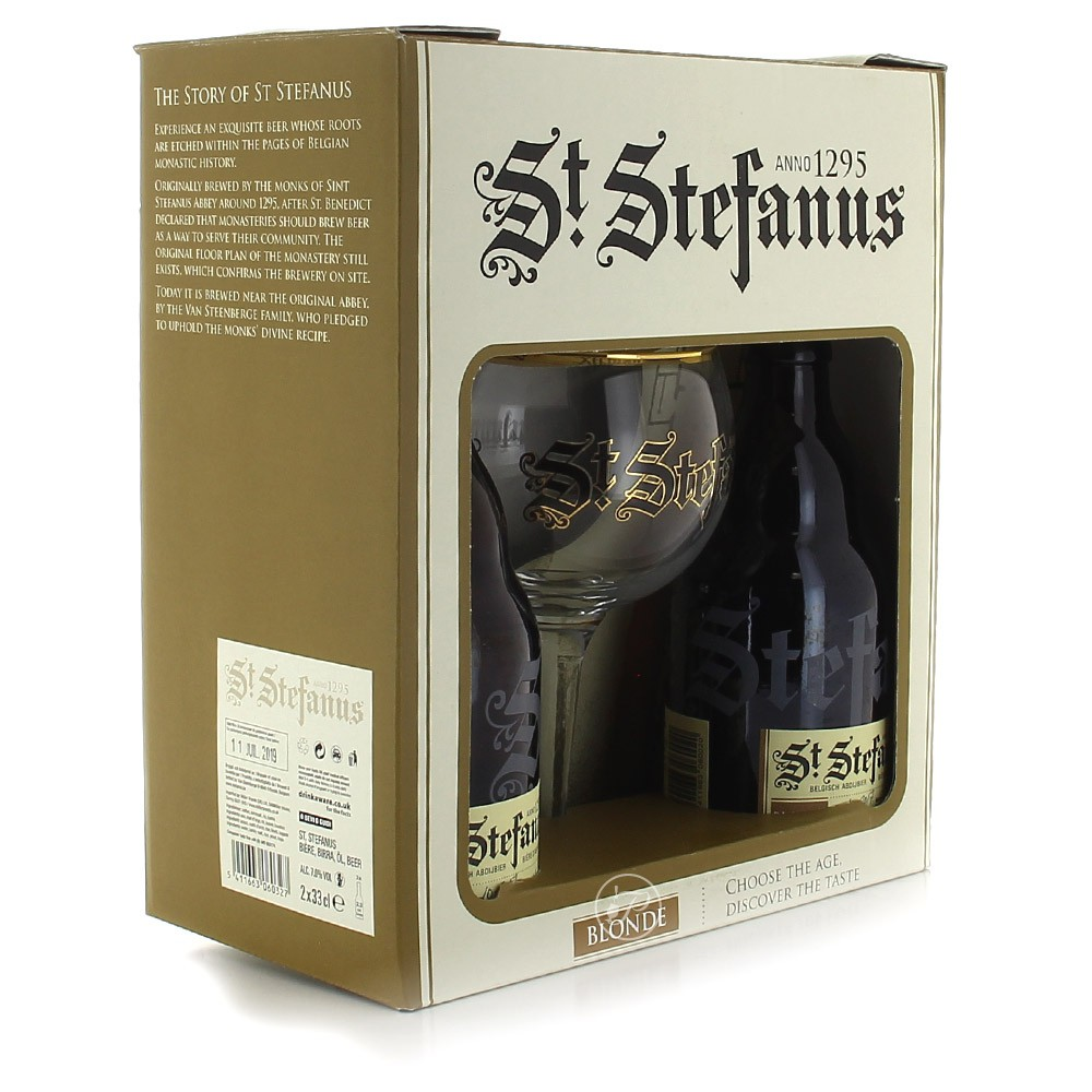 coffret st stefanus 2x33cl et 1 verre. Black Bedroom Furniture Sets. Home Design Ideas