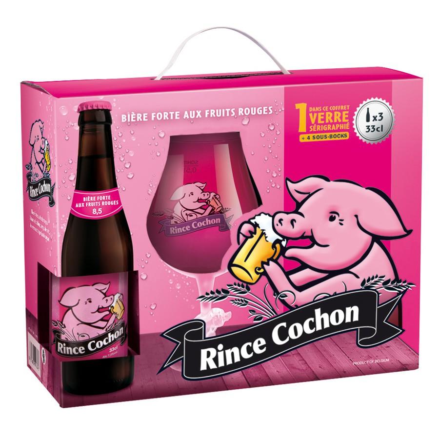 Coffret rince cochon rouge 3 bouteilles 33cl et 1 verre - Coffret verre a biere ...