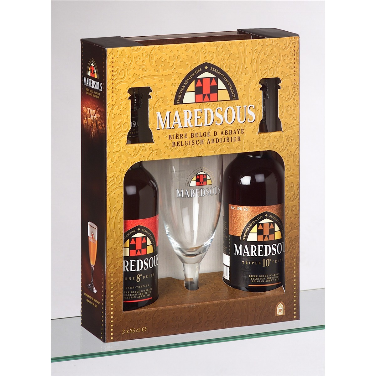 coffret de bi re maredsous 2 bouteilles 75cl 1 verre. Black Bedroom Furniture Sets. Home Design Ideas