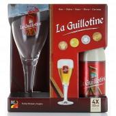 Coffret de bière Guillotine 4 bouteilles + 1 verre