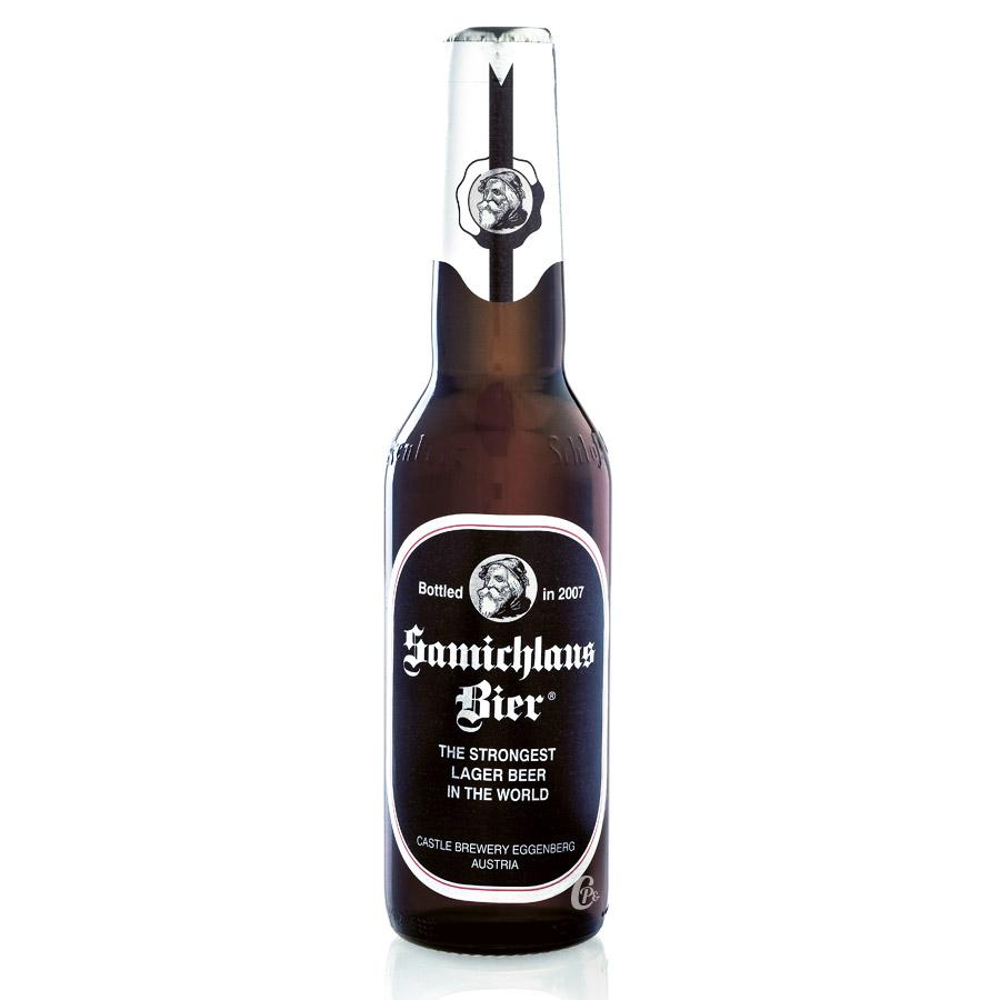 Bière d'Autriche Samichlauss brune 33cl. De type lager à fermentation basse, elle est brassée par la brasserie Castle Brewery Egg