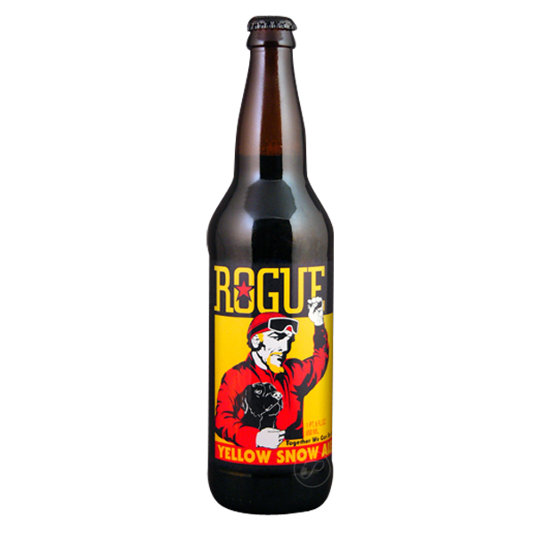 Bouteille Rogue - Yellow Snow Ale. D?une robe dorée et légèrement trouble, la Yellow Snow Ale est une bière IPA pleine de