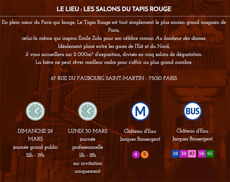 Information pratique pour l'événement Planet Bière - Salon bière à Paris