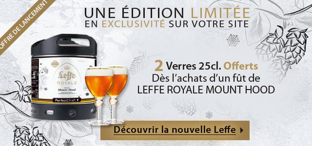 Nouveauté exclusive : Leffe Royale Mount Hood au format Perfectdraft sur votre site préféré pompe-a-biere.com, offre de lancement 2 Verres 25cl. Offert à l'achat d'un fut
