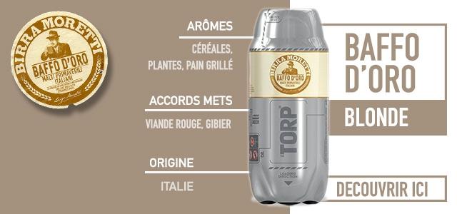 Découvrez une bière italienne en fut de 2 litres : La Baffo d'Oro Moretti