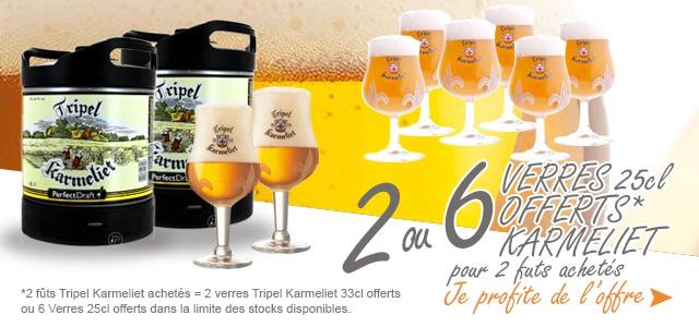 Offre sur la nouveauté Perfectdraft : La Triple Karmeliet + 6 Verres 25cl Offerts ou 2 Verres 33cl Offerts