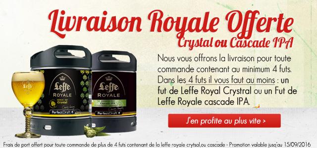 Livraison Offerte pour toute commande comprenant un fut de Leffe Royale Cascade ou Crystal avec un minimum de 4futs