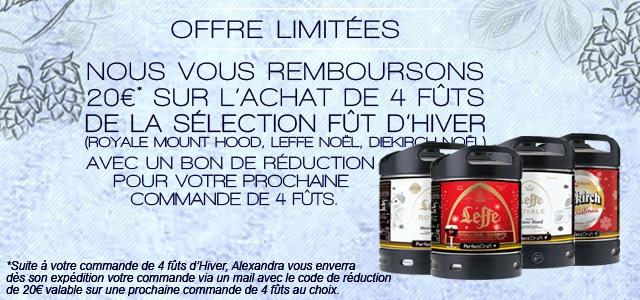 Nous vous remboursons 20€ sur votre prochaine commande suite à l'achat de 4futs de bière de la sélection Hiver